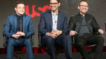 From left: Actor Rami Malek, creator/director Sam Esmail, and actor Christian Slater speak onstage during the Mr. Robot panel discussion at the TCA tour in Pasadena, California. Photo: Frederick M. Brown/Getty Images